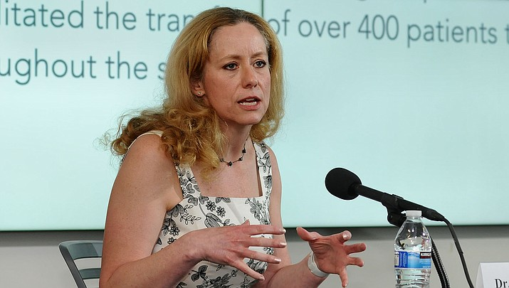 State Health Director Dr. Cara Christ talks about the coronavirus. (File photo by Howard Fischer/For the Miner)