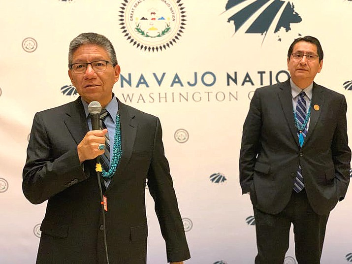 Navajo Nation Vice President Myron Lizer, left, speaks at the Washington, D.C., Navajo Nation office. Lizer is scheduled to speak at the Republican National Convention Aug. 25. (Photo by Jourdan Bennett-Begaye, Indian Country Today)
