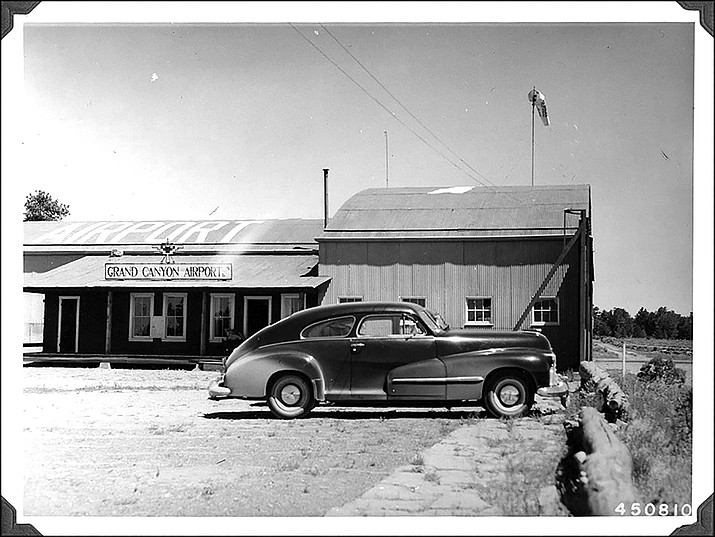 The Grand Canyon Airport near Tusayan, Arizona. Sight-seeing tours of the Grand Canyon were conducted from the location and continue from there today. This photo was taken by Edgar L. Perry in July 1948.  (Photo/U.S. Forest Service - Kaibab National Forest)