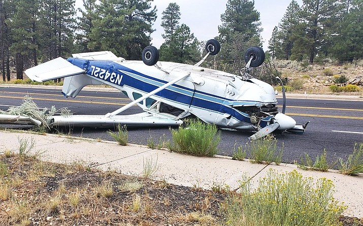 Andrew Dutzy, 24, reported that he was returning to Grand Canyon National Park Airport when he crash just outside of the park's South Entrance station Aug. 28. (Photo courtesy of Harold Battalora)