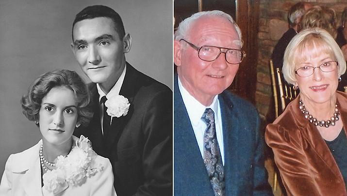 Joseph and Carolyn Funke were married Aug. 26, 1960, in Kansas City, Kansas; pictured then and now. (Courtesy)