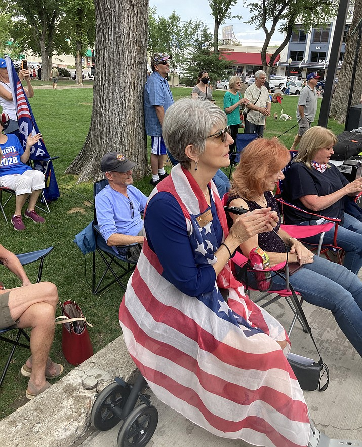 Prescott Valley Town Council Member Lori Hunt, who recently won re-election, watches the rally performances and speeches, Saturday, Aug. 29, 2020, in downtown Prescott. (Nanci Hutson/Courier)