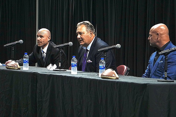 A panel including Findlay Toyota Center General Manager Shane Cadwell, left, S&P Sports President Trey Medlock, middle, and Indoor Football League Commissioner Todd Tryon speak to the crowd during a press conference Tuesday, Aug. 25, in which the IFL officially announces that a new indoor football franchise will be coming to Prescott Valley. (Aaron Valdez/Prescott Courier)