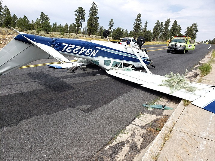 A 1967 Cessna TU206B crashed just outside of the South Entrance gate to Grand Canyon National Park Aug. 28. (Photos courtesy of Coconino County Sheriff's Office)