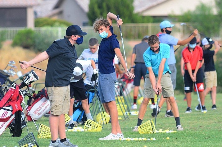 Mingus Union High School Coach Craig Mai puts golfers through their drills at the Agave Golf Course in Cornville as they get ready for the upcoming season. VVN/Vyto Starinskas