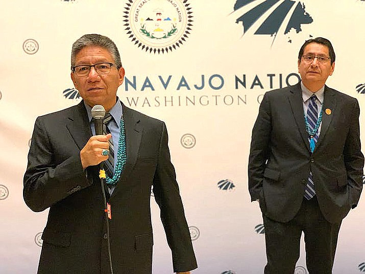 Navajo Nation Vice President Myron Lizer spoke at the RNC Aug. 25, while President Jonathan Nez spoke at the DNC last week. (Photo by Jourdan Bennett-Begaye, Indian Country Today)