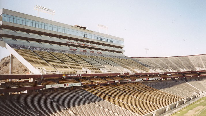 Sun Devil Stadium in Tempe may be hosting football games sooner than originally thought, as the Pac-12 Conference announced that daily virus testing of athletes could allow football and other fall sports to resume sooner than expected. (Photo by Greenstrat, Public domain)