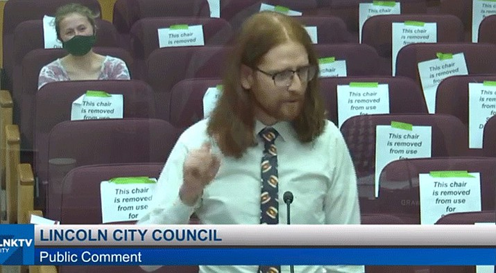 """Video of Ander Christensen's satirical rant before the Lincoln City Council last week pleading to ban the """"boneless chicken wing"""" moniker has garnered widespread attention on social media and news sites. (Screenshot from screenshot LNKTV on lincoln.ne.gov)"""
