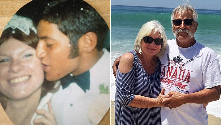 Judy and Steve Dominguez were married by Father Francis Pyka on Sept. 12, 1970, pictured then and now. (Courtesy)
