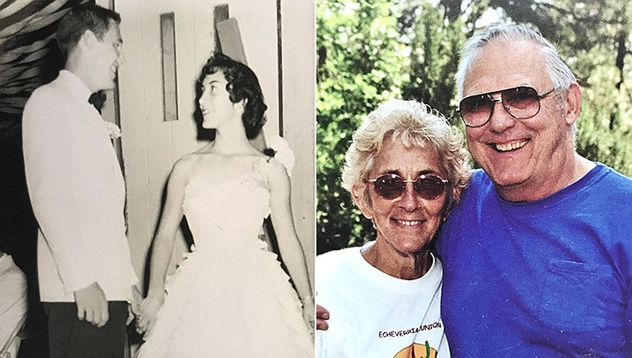 Lloyd and Glady Miller were married on Sept. 3, 1955, pictured then and now. (Courtesy)