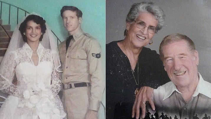 William and Nellie Manley were married on Sept. 2, 1956, pictured then and now. (Courtesy)