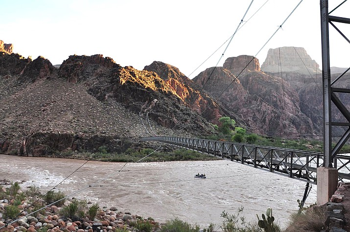 The Silver Bridge that spans the Colorado River at Grand Canyon National Park has been closed because of structural damage. (Photo/NPS)