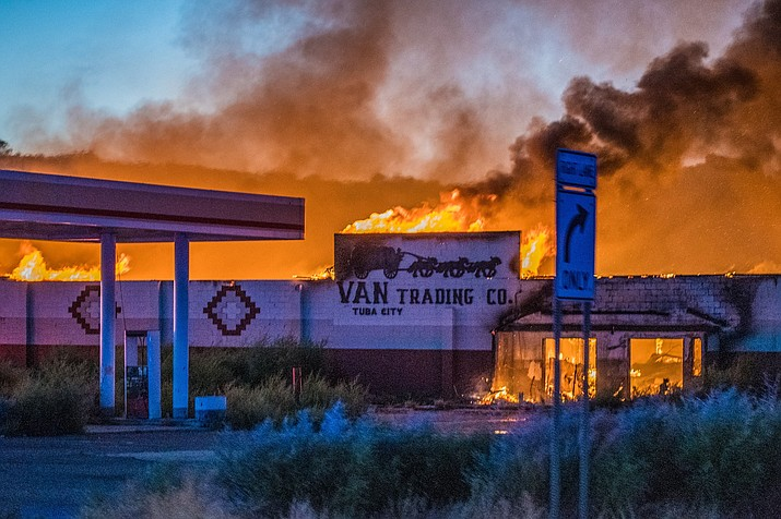 Van's Trading Co. on Highway 160 outside of Tuba City, Arizona, is fully engulfed in fire Aug. 31. Navajo Nation Fire & Rescue firefighters from Tuba City, Twin Arrows and Shonto spent nearly 11 hours on-scene fighting the blaze. The cause of the fire is under investigation at this time. (Photo courtesy of Alyssa Peaches Armendez)