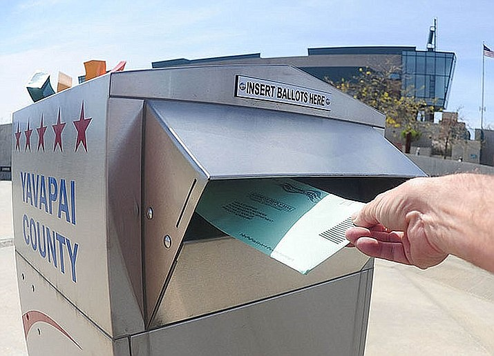 There are 13 voting drop-boxes around Yavapai County. Those ballots go directly to the county recorder and saves the county 60 cents per ballot in mailing costs. Les Stukenburg/Courier, file photo