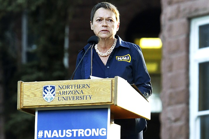 Northern Arizona University President Rita Cheng speaks on the NAU campus in Flagstaff, Arizona, in 2015 to honor the victim and wounded of a deadly shooting on campus. Cheng announced Sept. 8, 2020, she will not seek an extension of her contract, which expires in 2021. (Taylor Mahoney/Arizona Daily Sun via AP, File)