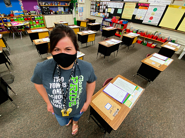 Clarkdale-Jerome third grade teacher Andrea Clark prepares her classroom for Sept. 14, the district's first day of in-class education. Clark said Wednesday that flexibility is key to being a teacher. VVN/Bill Helm