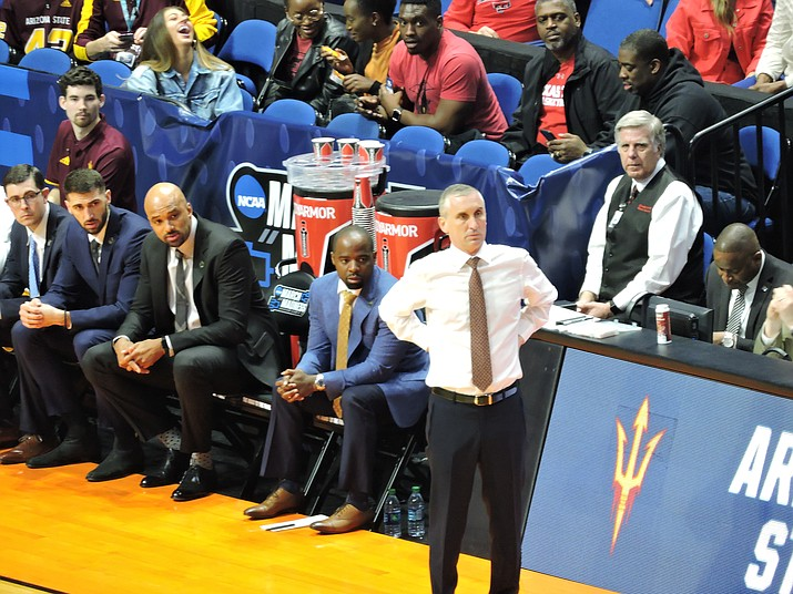 "The NCAA is considering establishing multiple ""bubbles"" similar to those implemented by the NBA to allow college basketball to be played safely during the pandemic. Arizona State University head basketball coach Bobby Hurley is shown above. (Photo by SneakinDeacon, cc-by-sa-2.0, https://bit.ly/3heYUvY)"