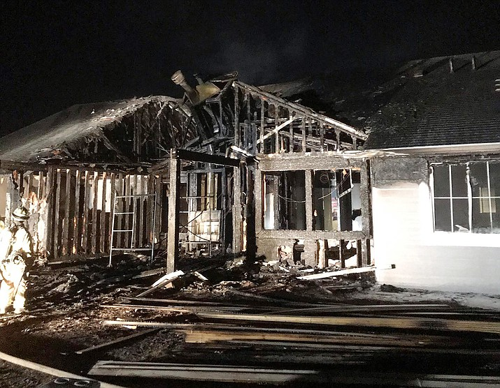 A nearly completed house in Chino Valley was damaged by fire on Labor Day, Sept. 7, 2020. The blaze is under investigation by Fire Marshal Rick Chase of Central Arizona Fire and Medical Authority. (CAFMA)