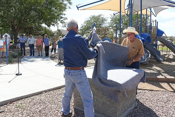 The Town of Chino Valley unveils the time capsule that will be buried in Memory Park as part of the 50th Anniversary celebration during an event on Saturday, Sept. 5, 2020. (Town of Chino Valley, Facebook/Courtesy)