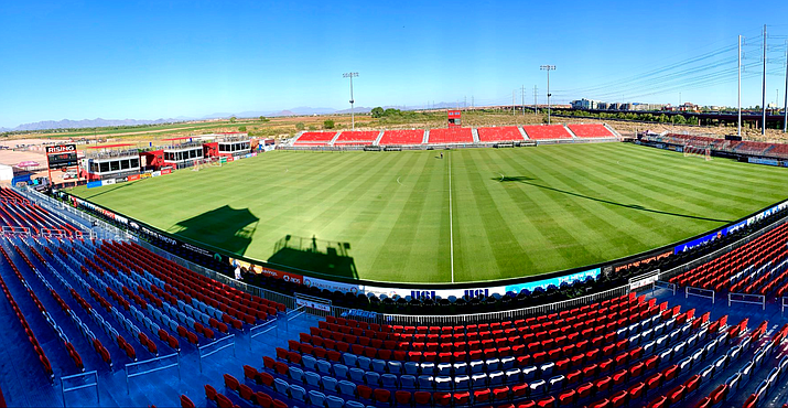 Casino Arizona Field won't be empty for long. Phoenix Rising FC is allowing about 1,000 season ticket holders to attend Friday's game against Las Vegas. (Photo courtesy of Phoenix Rising FC)