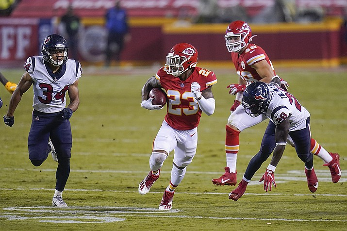 Kansas City Chiefs safety Armani Watts (23) carries the ball against the Houston Texans in the second half of an NFL football game Thursday, Sept. 10, 2020, in Kansas City, Mo. (Jeff Roberson/AP)
