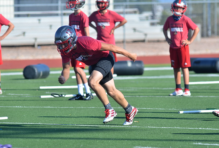 Mingus Union football players participate in a drill this week. The Marauders are set to host their home opener of Friday, Oct. 9, and each football and volleyball student-athlete will receive two spectator tickets in order to minimize the number of fans in the bleachers. VVN/Vyto Starinskas
