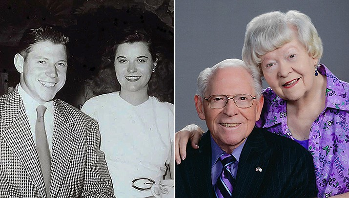 The story of Art and Kathleen Brown began when he saw her singing in the choir at church in Missouri and told his brother he had seen the woman he would marry. Pictured then and now. (Courtesy photos)
