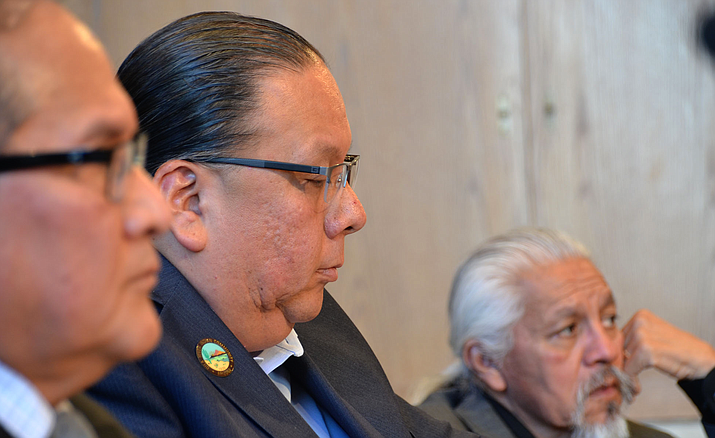 Gila River Indian Community Gov. Stephen Roe Lewis, center, during a Senate hearing in 2019. Lewis on Thursday told a House committee that an accurate census count is vital to tribes, but that a Census Bureau plan to end counting early could threaten the count. (File photo by Keerthi Vedantam/Cronkite News)