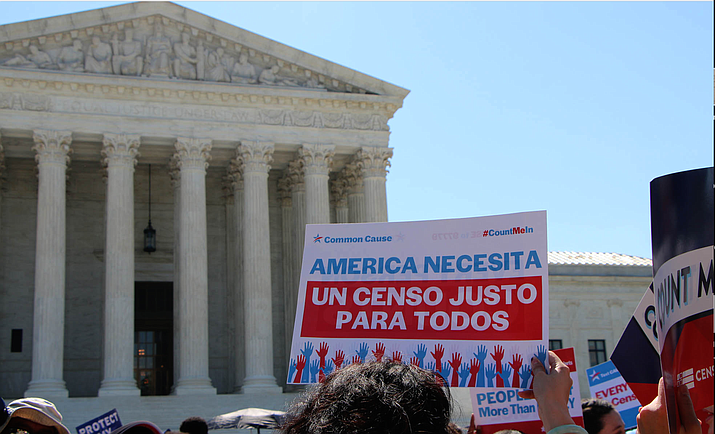 This is not the first time the Trump administration's census plans have been in court – this photo shows protesters in 2019 outside the Supreme Court, which struck down an administration plan to add a citizenship question to the census. Both sides believe the latest fight, over attempts to exclude undocumented migrants, could also land in the Supreme Court. (File photo by Miranda Faulkner/Cronkite News)