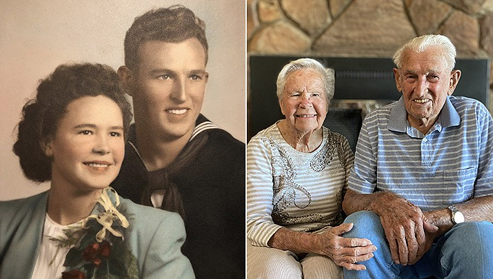 Orville and Wanda Pruett celebrated their 75th anniversary on Sept. 9. They were married in Yuma, Arizona, in 1945. Pictured then and now.