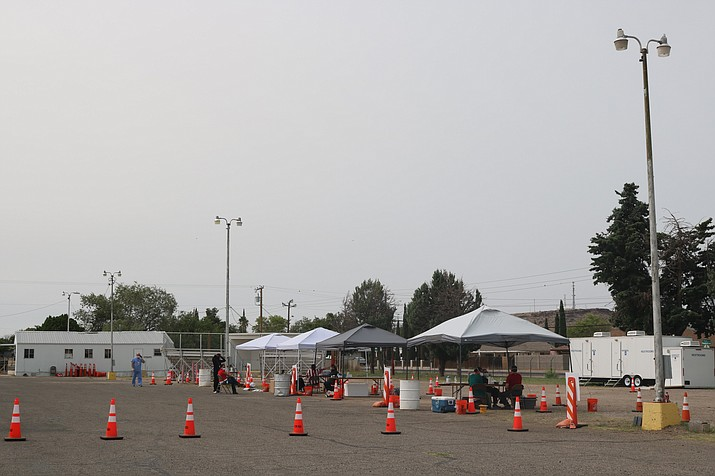 This photo was taken during a lull in the action at a free COVID-19 drive-thru testing site at the Mohave County Fairgrounds on Saturday, Sept. 12. (Photo by Travis Rains/Kingman Miner)