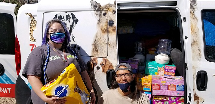 Mohave County Animal Shelter received a donation of dog and cat food courtesy of the Nevada Society for the Prevention of Cruelty to Animals, along with 23 Martingale collars from Penelope Townsend. (Photo courtesy of Friends of the Mohave County Animal Shelter)