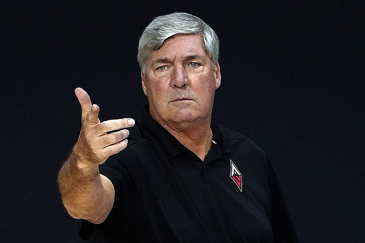 Las Vegas Aces head coach Bill Laimbeer during the second half of a WNBA basketball game against the Phoenix Mercury Tuesday, Sept. 1, 2020, in Bradenton, Fla. (Chris O'Meara/AP)