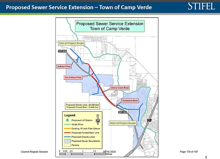 Proposed sewer service extension in Camp Verde, from Interstate 17 west on State Route 260 to about one-half mile west of the Aultman Parkway roundabout. Courtesy Town of Camp Verde