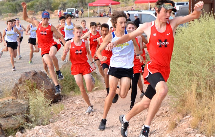 Mingus senior Jehiah Rogers leads the early charge in Saturday's dual season opener against Prescott. This Saturday the Mingus runners will host league rival Coconino. VVN/Vyto Starinskas