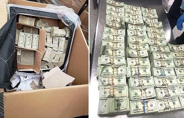 U.S. Custom and Border Protection officers at Miami International Airport seized $491,280 in unreported U.S. currency last Thursday. The money had been concealed inside a chair placed in a crate with other furniture. (U.S. Custom and Border Protection)