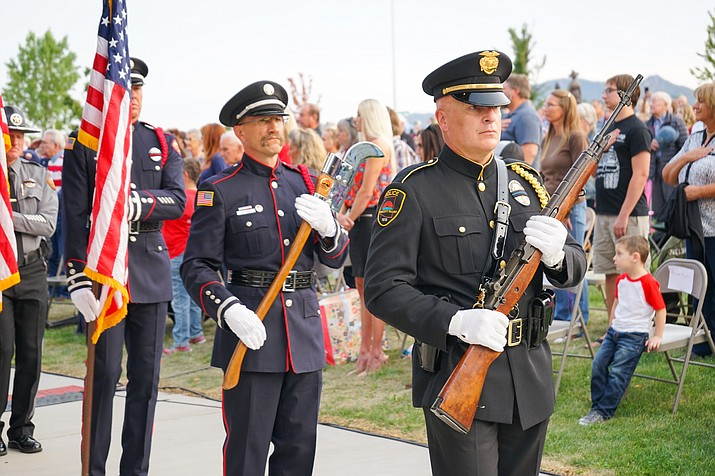 On Friday evening, Sept. 11, 2020, the Town of Prescott Valley held its 9/11 Patriot Day Ceremony. The Central Arizona Honor Guard and Pipes and Drums presented colors. The ceremony closed out Patriot Week, including the Northern Arizona Healing Field, at the Prescott Valley Civic Center. (LaToya Muse, Town of Prescott Valley/Courtesy photos)