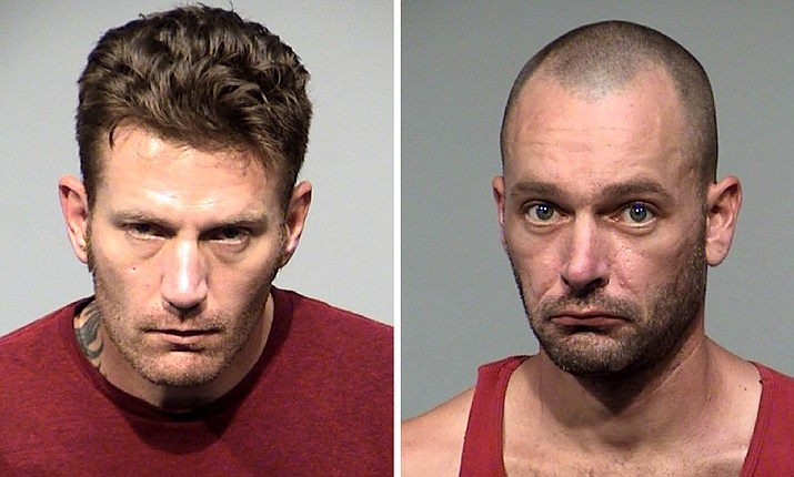 Donald Hildebrand, 40, left, and 34-year-old Shane Adams were arrested Sept. 7, 2020, by Prescott Valley Police after a traffic stop led to the discovery of illegal drugs and a 9mm handgun in the car. Hildebrand and Adams were charged with multiple felonies and were booked into the Yavapai County jail in Camp Verde. (PVPD/Courtesy)