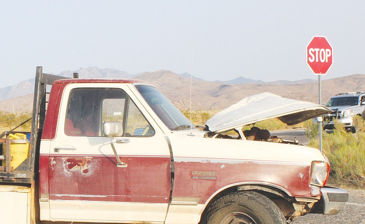This photo shows the side of a truck where it collided with a motorcycle at the intersection of Shinarump Drive and Oatman Highway on Saturday, Sept. 12. (MCSO photo)