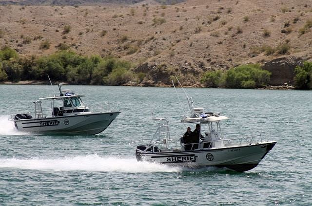 A California woman died four days after she was rescued after going under while swimming off the shore at Lake Havasu. Mohave County Sheriff's Office patrol boats are shown above. (MCSO photo)