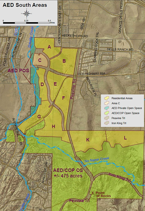 A map shows the south part of the AED rezone. (City of Prescott/Courtesy)