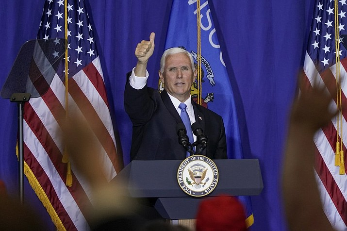 Vice President Mike Pence speaks at a campiagn stop Monday, Sept. 14, 2020, in Janesville, Wis. (AP Photo/Morry Gash)