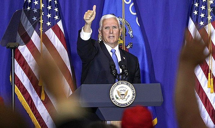Vice President Mike Pence speaks at a campaign stop Monday, Sept. 14, 2020, in Janesville, Wis. (AP Photo/Morry Gash)