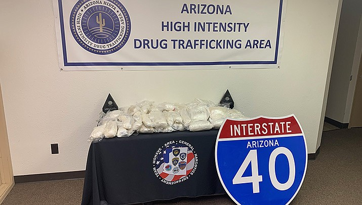 Methamphetamine with a weight of 89 pounds and an estimated street value of $3.9 million was confiscated by law enforcement officers after a traffic stop on Interstate 40 on Thursday, Sept. 17. The four occupants of the vehicle were arrested on drug charges.