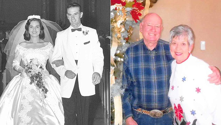 Grace and Paul Hicks were married Sept. 24, 1960, pictured here then and now. (Courtesy)