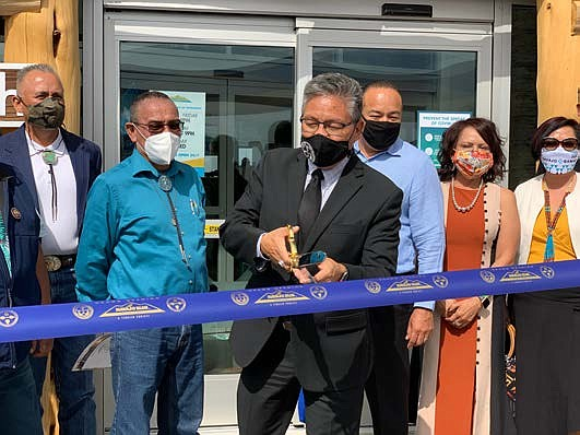 Navajo Nation Vice President Myron Lizer cuts the ribbon to mark the grand opening of the Navajo Blue Travel Center in Leupp, Arizona Sept. 18. (Photo/Navajo Nation President and Vice President)