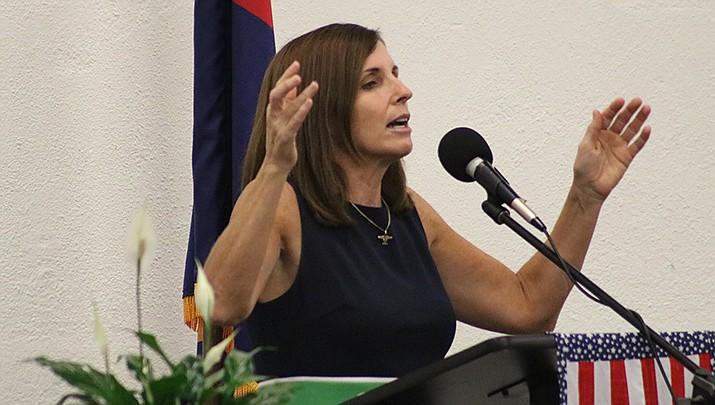 U.S. Sen. Martha McSally urged Mohave County Republicans to help preserve the GOP Senate majority by sending her back to Washington. (Photos by Travis Rains/Kingman Miner)
