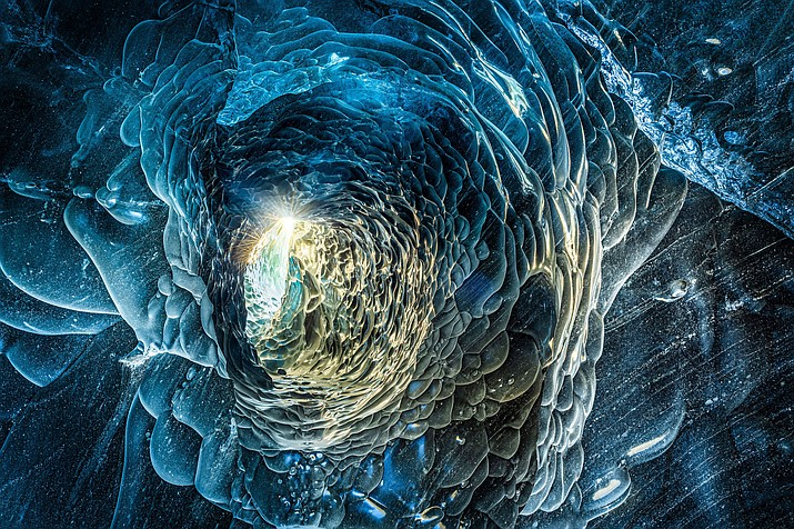 Meltwater carved a tunnel through compacted glacial ice in Vatnajokull National Park, Iceland