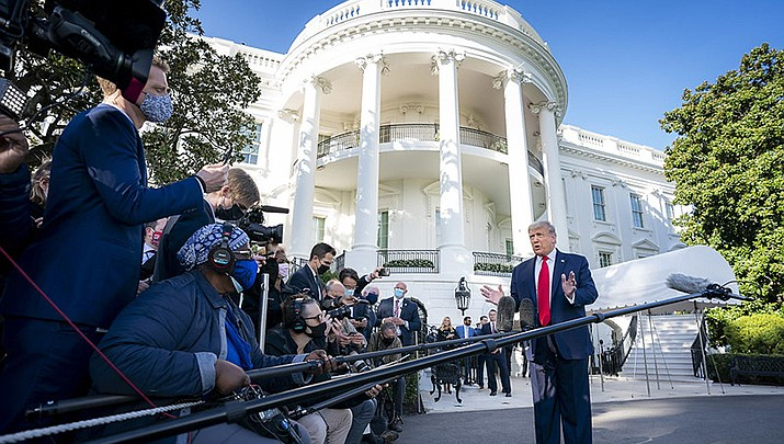 U.S. President Donald Trump, shown talking to the press before leaving the White House for a rally in North Carolina on Saturday, Sept. 19, said he will quickly nominate a female judge to fill the seat vacated on the U.S. Supreme Court by the death of Justice Ruth Bader Ginsburg last week. (Official White House photo/Public domain)