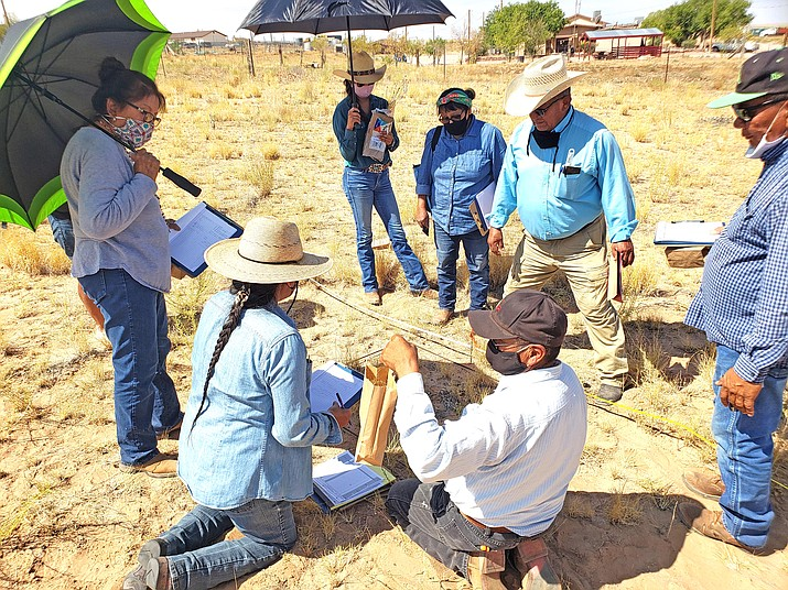 Members of the Tolani Lake Livestock and Water Users Association gather for a workshop in late August to learn how to evaluate range conditions in order to provide a more successful livestock operations.  (Photos/Tolani Lake Livestock and Water Users Association)
